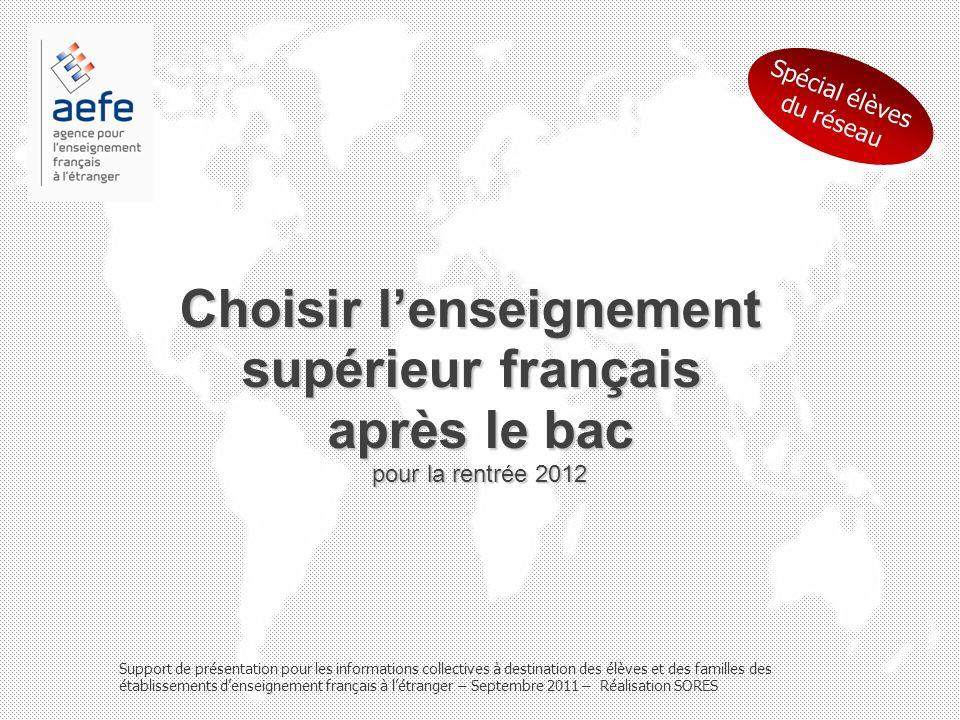 Choisir lenseignement supérieur français après le bac pour la rentrée 2012 Support de présentation pour les informations collectives à destination des