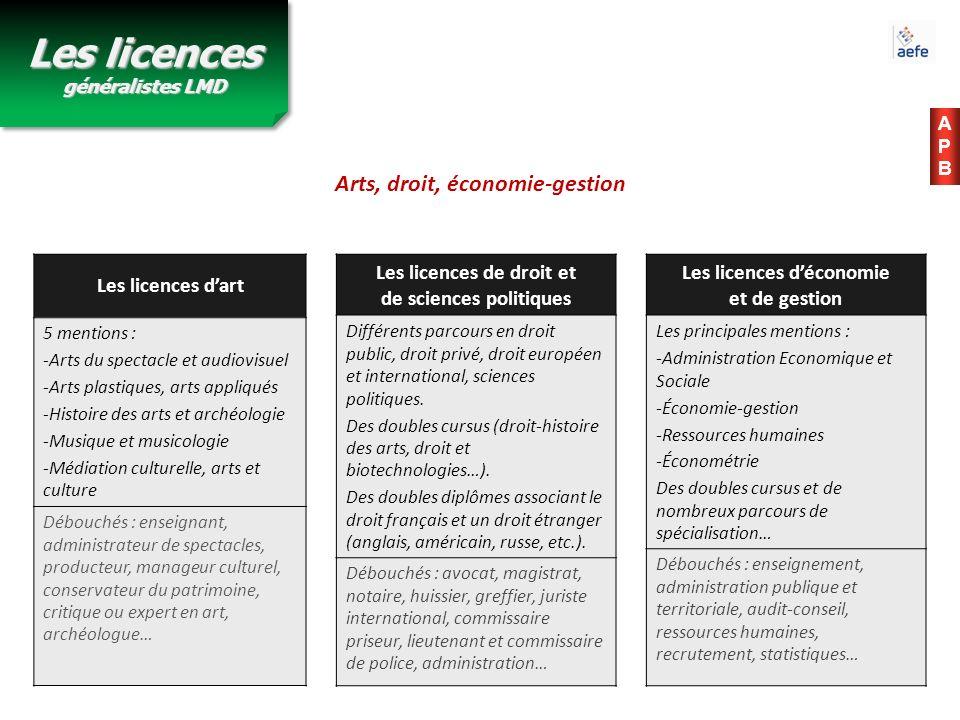 APBAPB Les licences dart 5 mentions : -Arts du spectacle et audiovisuel -Arts plastiques, arts appliqués -Histoire des arts et archéologie -Musique et
