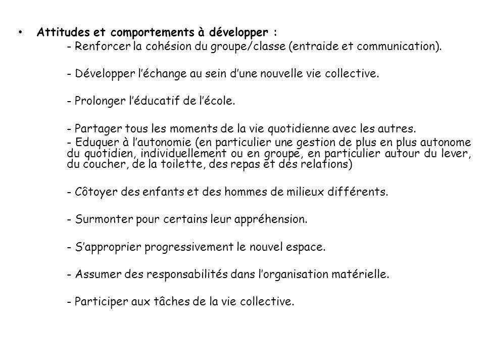 Attitudes et comportements à développer : - Renforcer la cohésion du groupe/classe (entraide et communication).
