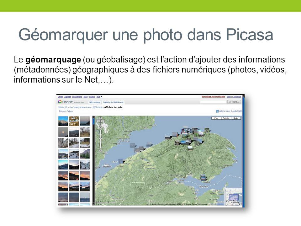 Le géomarquage (ou géobalisage) est l'action d'ajouter des informations (métadonnées) géographiques à des fichiers numériques (photos, vidéos, informa