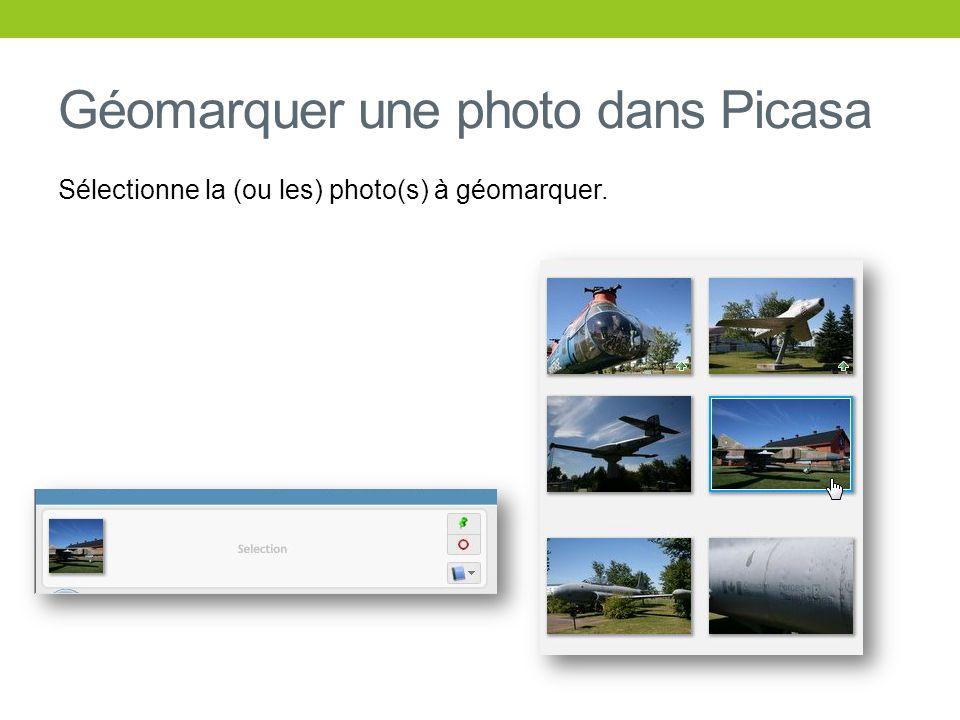 Géomarquer une photo dans Picasa Sélectionne la (ou les) photo(s) à géomarquer.