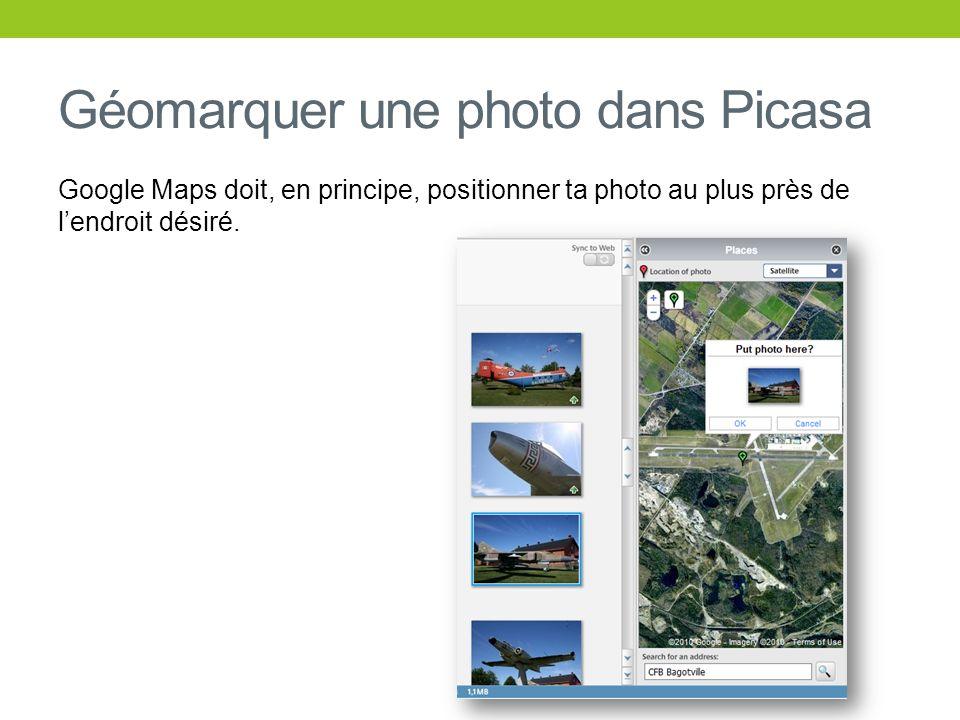Géomarquer une photo dans Picasa Google Maps doit, en principe, positionner ta photo au plus près de lendroit désiré.