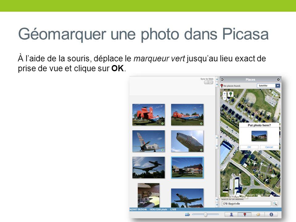 Géomarquer une photo dans Picasa À laide de la souris, déplace le marqueur vert jusquau lieu exact de prise de vue et clique sur OK.