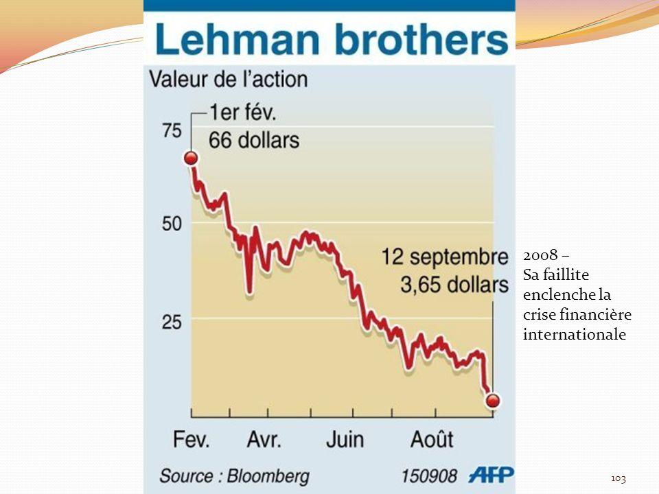 2008 – Sa faillite enclenche la crise financière internationale 103