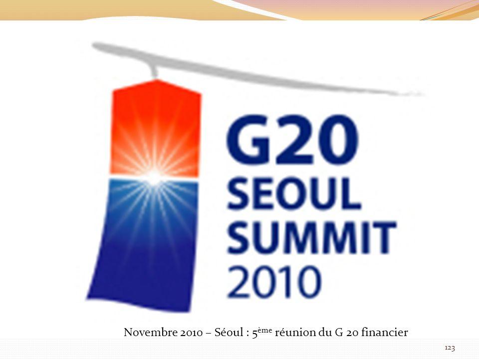 Novembre 2010 – Séoul : 5 ème réunion du G 20 financier 123