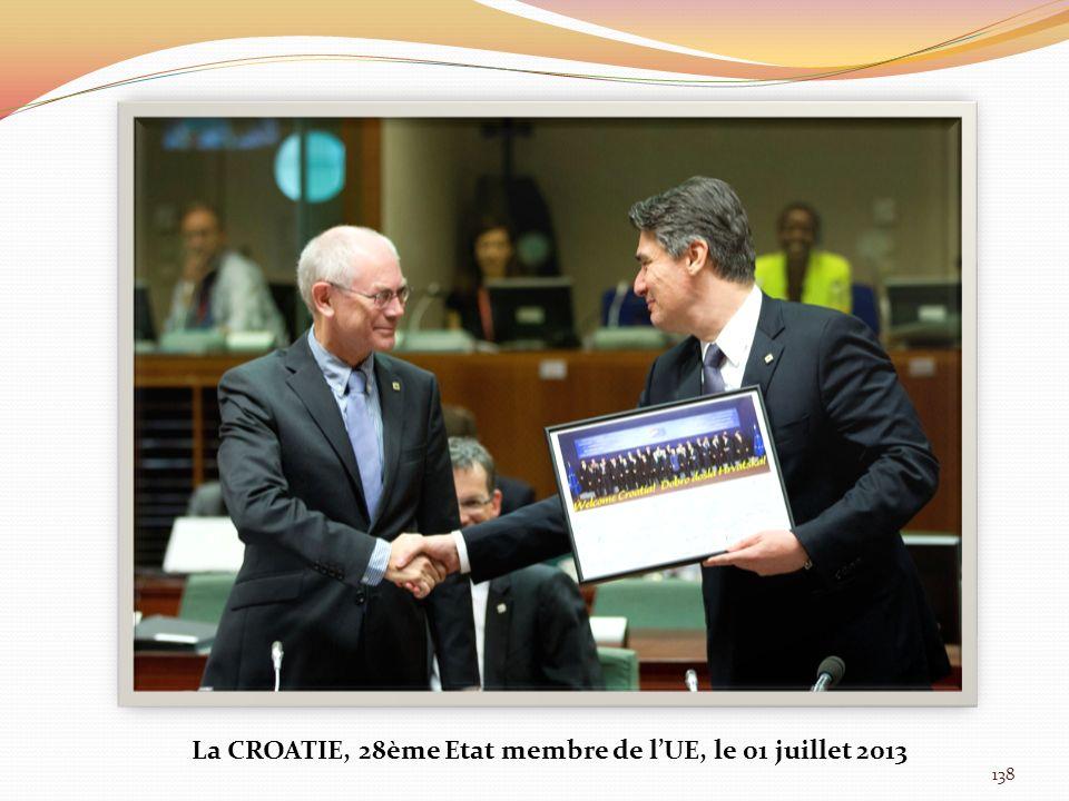 138 La CROATIE, 28ème Etat membre de lUE, le 01 juillet 2013