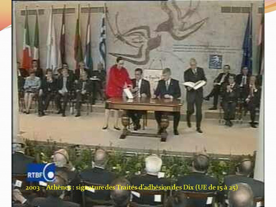 2003 – Athènes : signature des Traités dadhésion des Dix (UE de 15 à 25) 75
