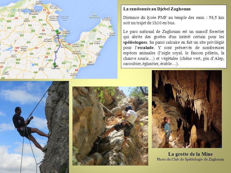 La randonnée au Djebel Zaghouan Distance du lycée PMF au temple des eaux : 58,5 km soit un trajet de 1h10 en bus. Le parc national de Zaghouan est un