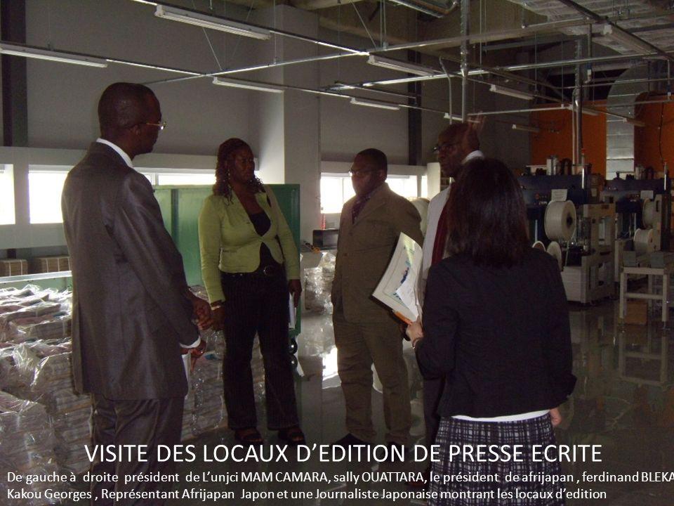 VISITE DES LOCAUX DEDITION DE PRESSE ECRITE De gauche à droite président de Lunjci MAM CAMARA, sally OUATTARA, le président de afrijapan, ferdinand BL