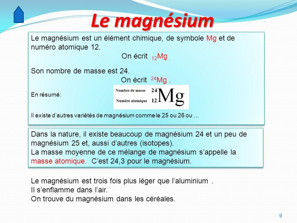 9 Le magnésium Le magnésium est un élément chimique, de symbole Mg et de numéro atomique 12.