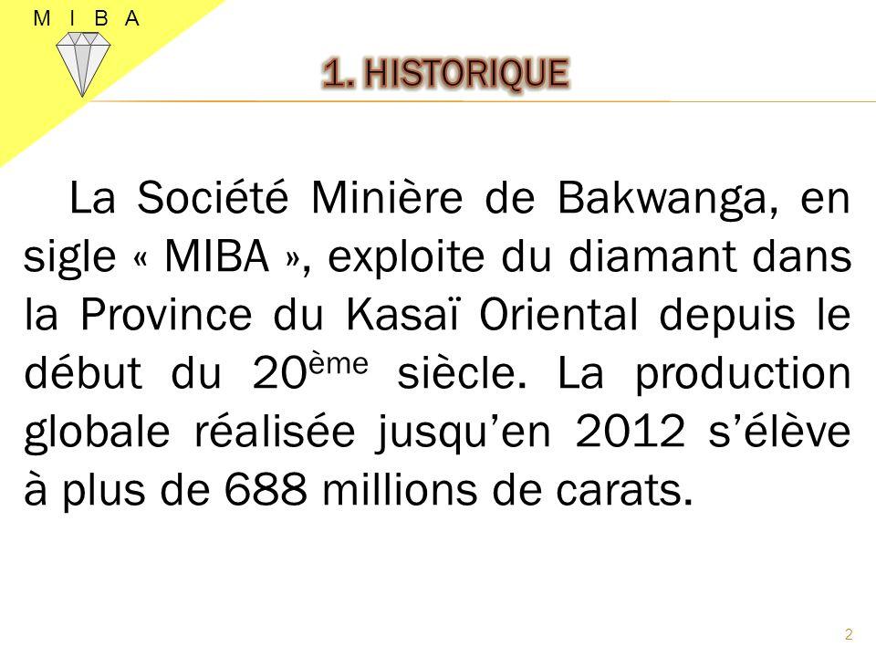 La Société Minière de Bakwanga, en sigle « MIBA », exploite du diamant dans la Province du Kasaï Oriental depuis le début du 20 ème siècle. La product