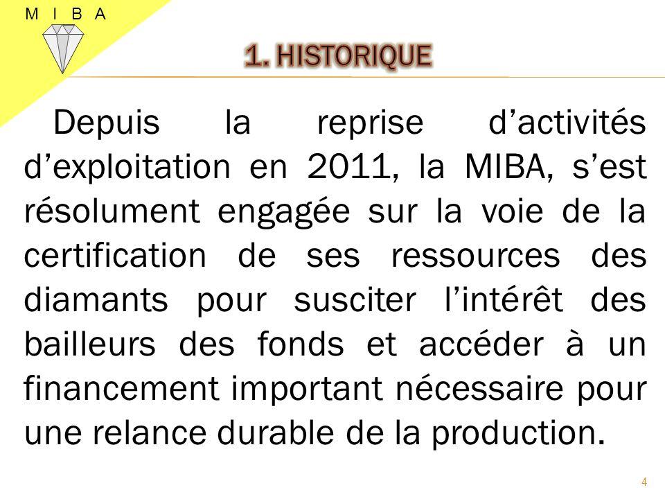 Depuis la reprise dactivités dexploitation en 2011, la MIBA, sest résolument engagée sur la voie de la certification de ses ressources des diamants po