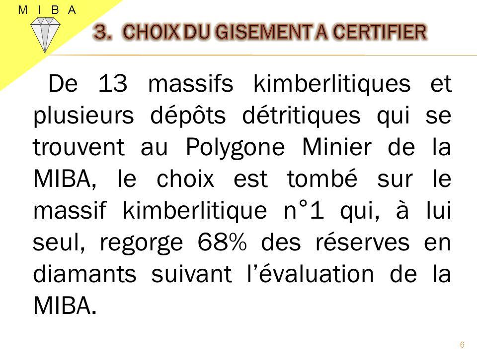 7 Le gisement qui a été retenu comme chantier pilote pour la 1 ère phase des travaux de la certification.