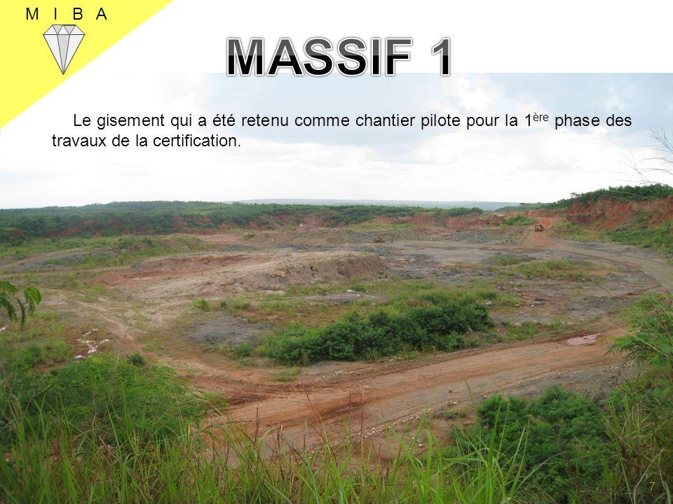 La Certification comprend les travaux ci- après: Le contrôle de la forme ou la structure du gisement permettant la détermination du volume du minerai; Le contrôle de la teneur permettant la détermination des ressources en carats M I B A 8