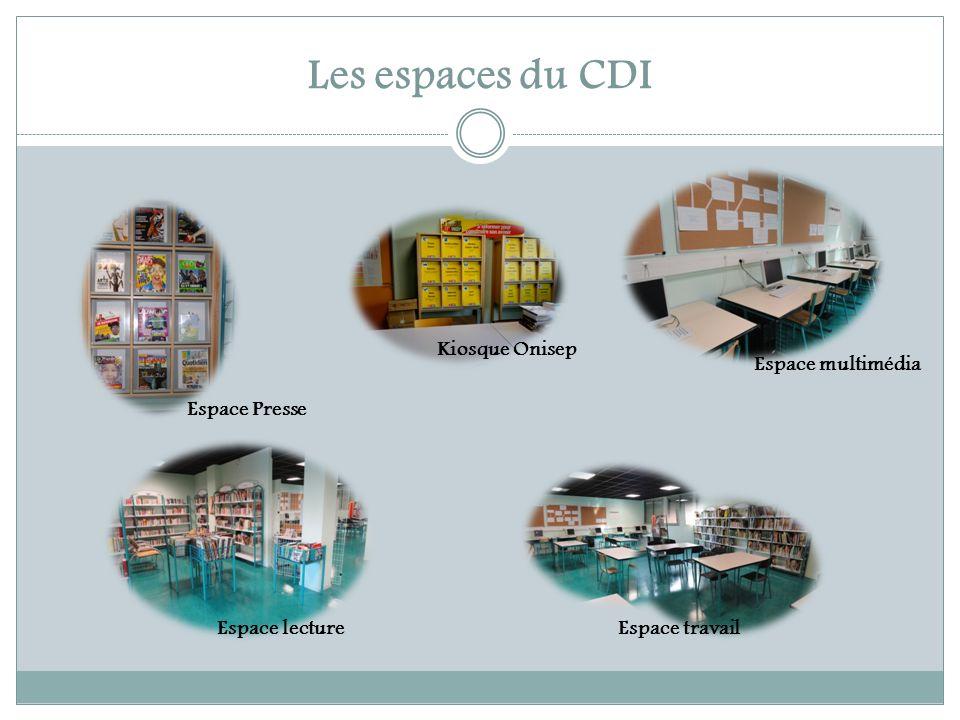 Les espaces du CDI Espace Presse Kiosque Onisep Espace multimédia Espace lectureEspace travail