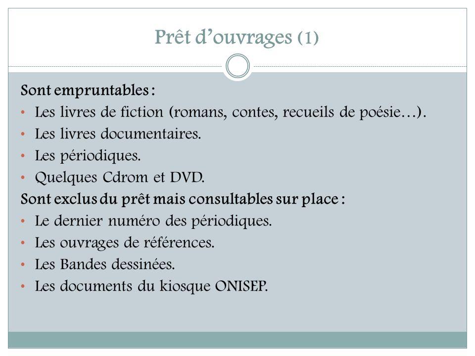 Prêt douvrages (1) Sont empruntables : Les livres de fiction (romans, contes, recueils de poésie…). Les livres documentaires. Les périodiques. Quelque