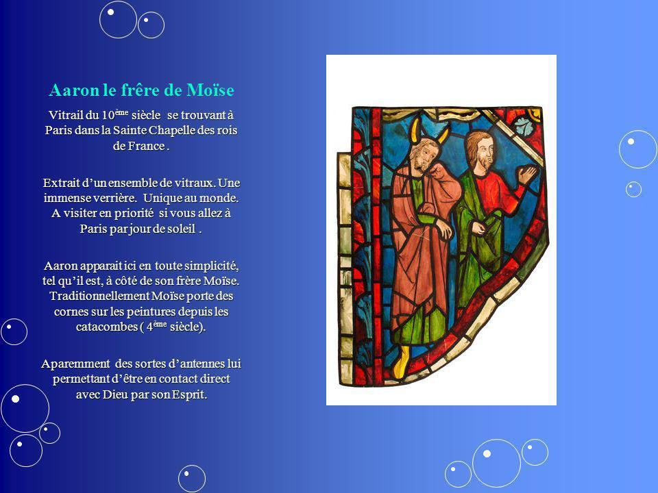 Aaron le frêre de Moïse Vitrail du 10 ème siècle se trouvant à Paris dans la Sainte Chapelle des rois de France. Extrait dun ensemble de vitraux. Une