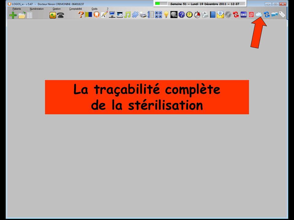Fenêtre principale La traçabilité complète