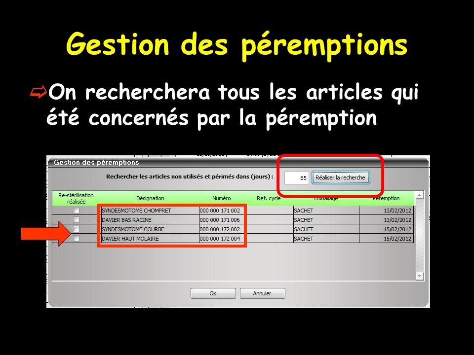 Gestion des péremptions On recherchera tous les articles qui été concernés par la péremption