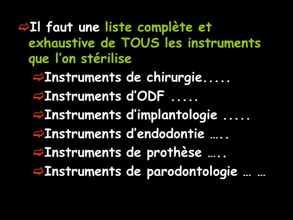 Il faut une liste complète et exhaustive de TOUS les instruments que lon stérilise Instruments de chirurgie..... Instruments dODF..... Instruments dim