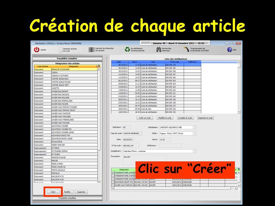 Création de chaque article Clic sur Créer