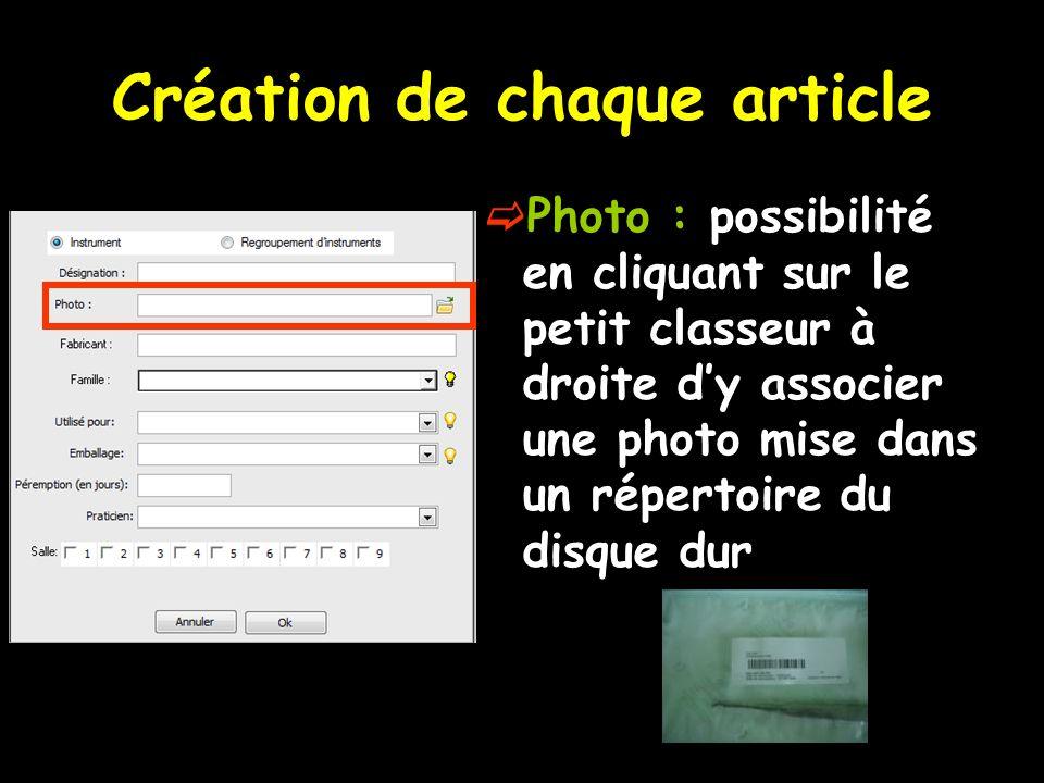 Création de chaque article Photo : possibilité en cliquant sur le petit classeur à droite dy associer une photo mise dans un répertoire du disque dur