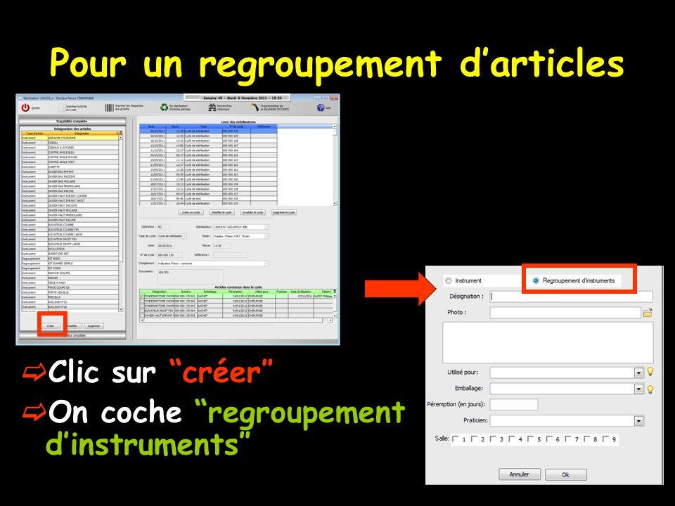 Pour un regroupement darticles Clic sur créer On coche regroupement dinstruments