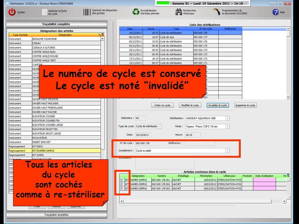 Le numéro de cycle est conservé Le cycle est noté invalidé Tous les articles du cycle sont cochés comme à re-stériliser