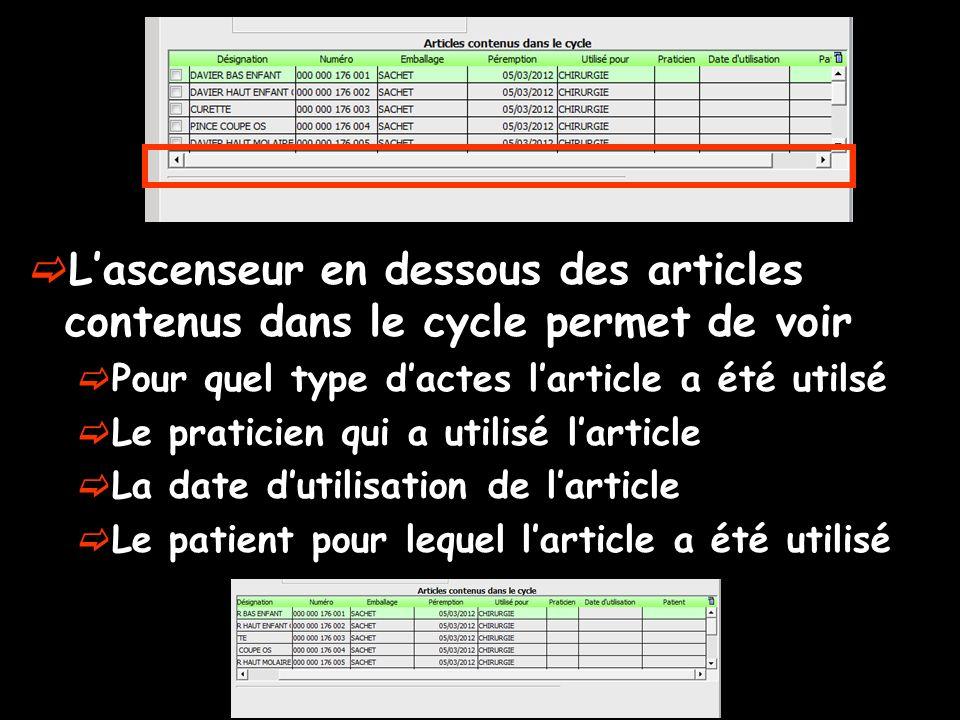 Lascenseur en dessous des articles contenus dans le cycle permet de voir Pour quel type dactes larticle a été utilsé Le praticien qui a utilisé lartic