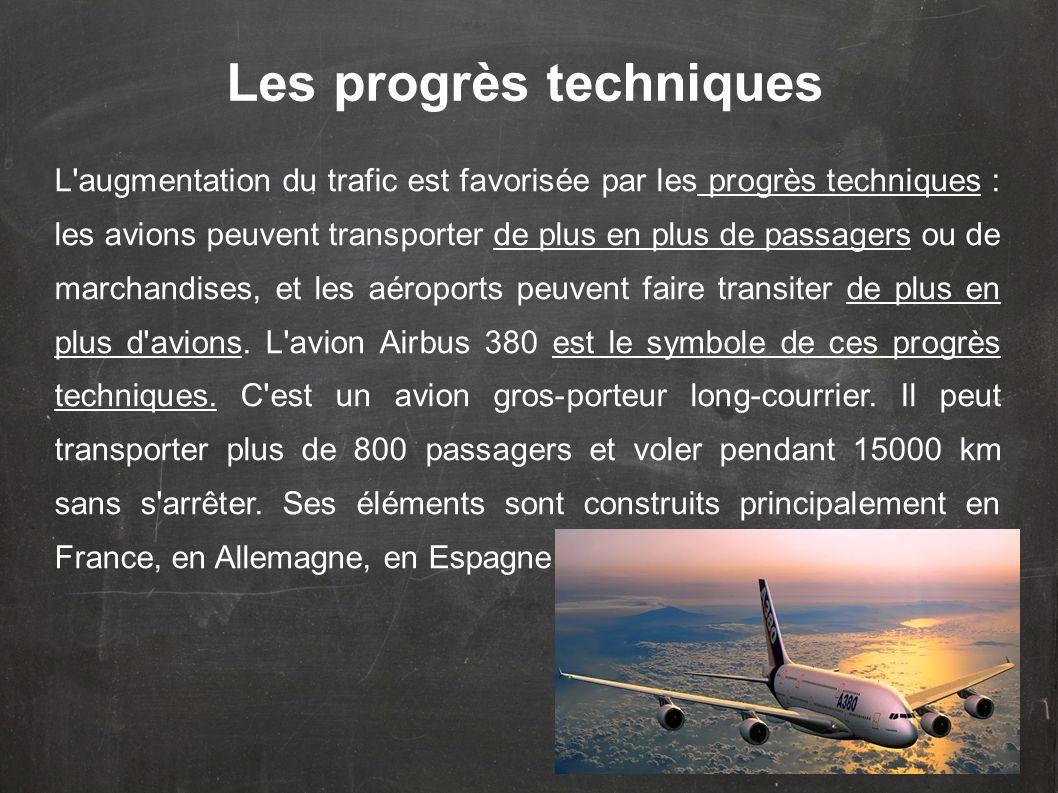Les progrès techniques L'augmentation du trafic est favorisée par les progrès techniques : les avions peuvent transporter de plus en plus de passagers