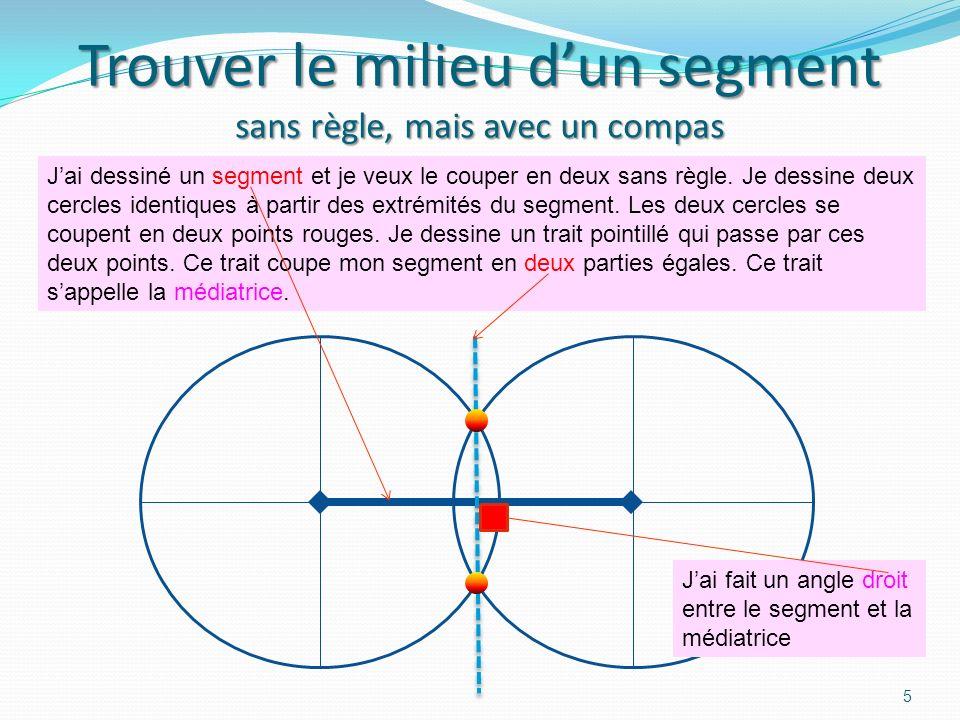 Trouver le milieu dun segment 4 0123 4 5678 9 10 Jai dessiné un trait (un segment) qui mesure 8 cm. Je le divise en deux parties égales qui mesurent c
