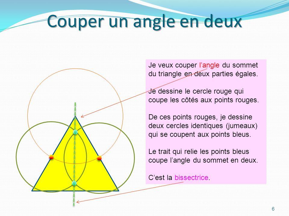 5 Trouver le milieu dun segment sans règle, mais avec un compas Jai dessiné un segment et je veux le couper en deux sans règle. Je dessine deux cercle