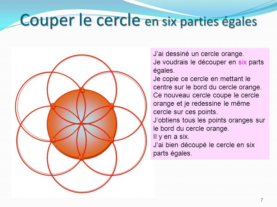 6 Je veux couper langle du sommet du triangle en deux parties égales. Je dessine le cercle rouge qui coupe les côtés aux points rouges. De ces points