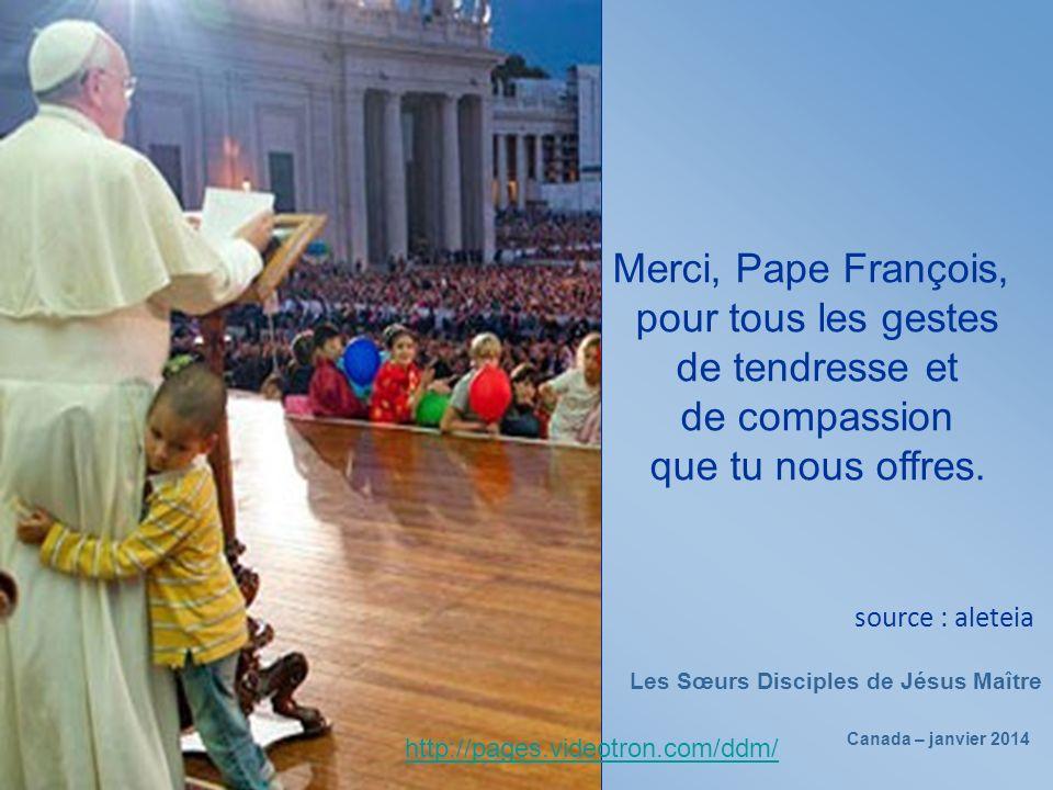 Sa tante dit qu'après l'embrassade du Pape, il est un autre homme, il se sent heureux et important.