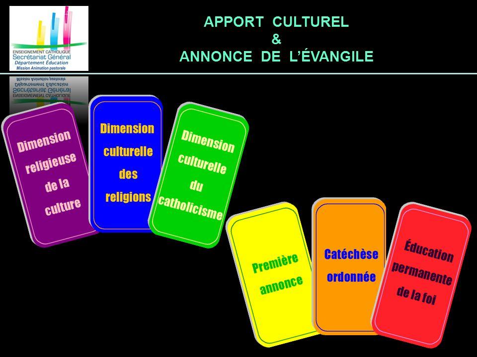 APPORT CULTUREL & ANNONCE DE LÉVANGILE
