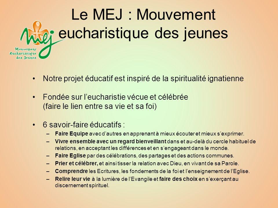 Le MEJ : Mouvement eucharistique des jeunes Notre projet éducatif est inspiré de la spiritualité ignatienne Fondée sur leucharistie vécue et célébrée