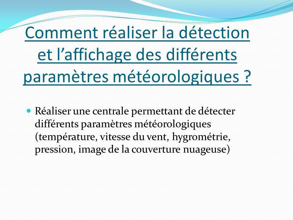 Comment réaliser la détection et laffichage des différents paramètres météorologiques ? Réaliser une centrale permettant de détecter différents paramè