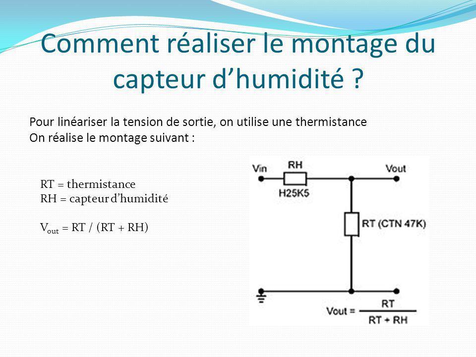 Comment réaliser le montage du capteur dhumidité ? Pour linéariser la tension de sortie, on utilise une thermistance On réalise le montage suivant : R