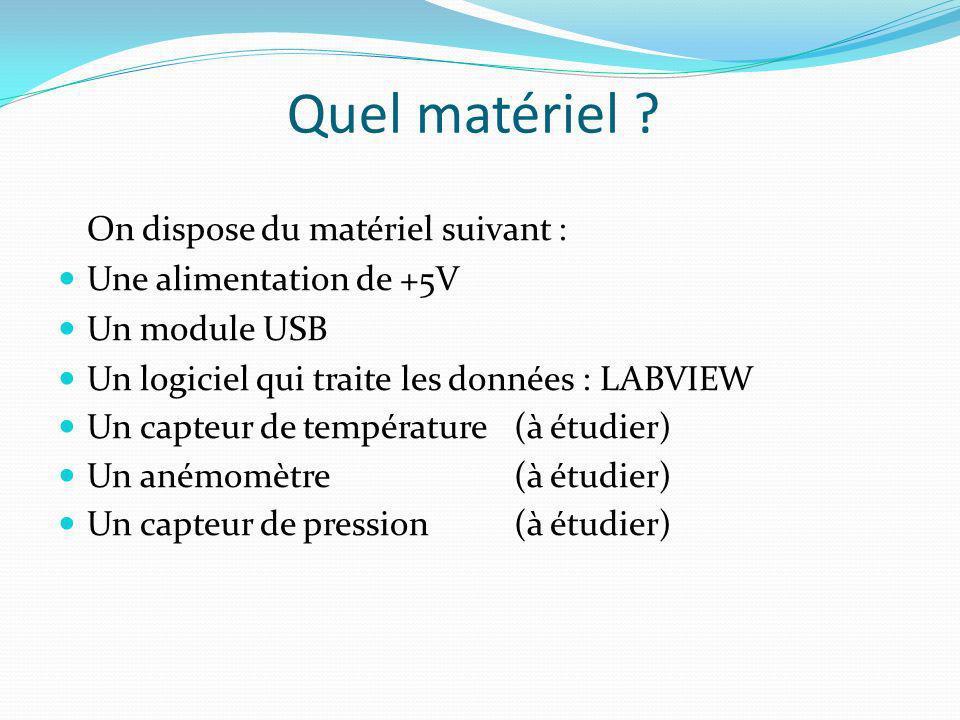 Quel matériel ? On dispose du matériel suivant : Une alimentation de +5V Un module USB Un logiciel qui traite les données : LABVIEW Un capteur de temp