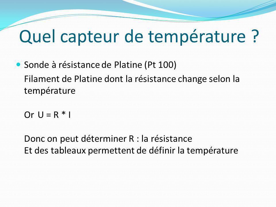 Quel capteur de température ? Sonde à résistance de Platine (Pt 100) Filament de Platine dont la résistance change selon la température OrU = R * I Do