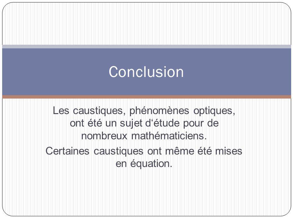 Les caustiques, phénomènes optiques, ont été un sujet détude pour de nombreux mathématiciens.
