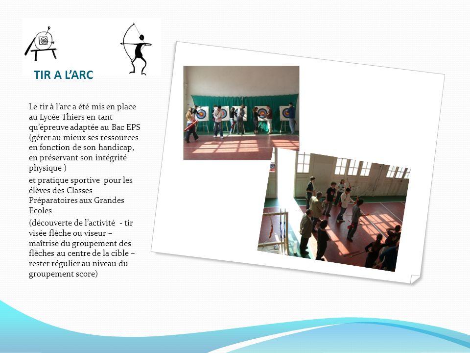 TIR A LARC Le tir à larc a été mis en place au Lycée Thiers en tant quépreuve adaptée au Bac EPS (gérer au mieux ses ressources en fonction de son han