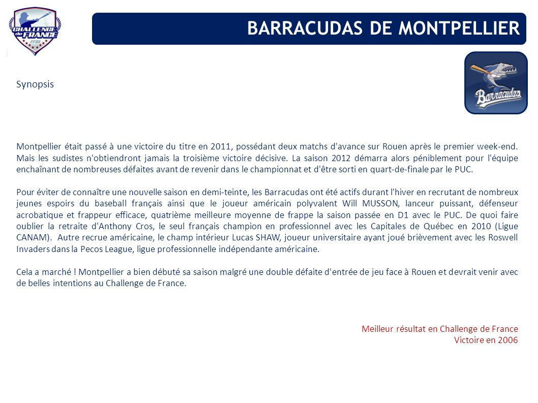 Synopsis Montpellier était passé à une victoire du titre en 2011, possédant deux matchs d'avance sur Rouen après le premier week-end. Mais les sudiste