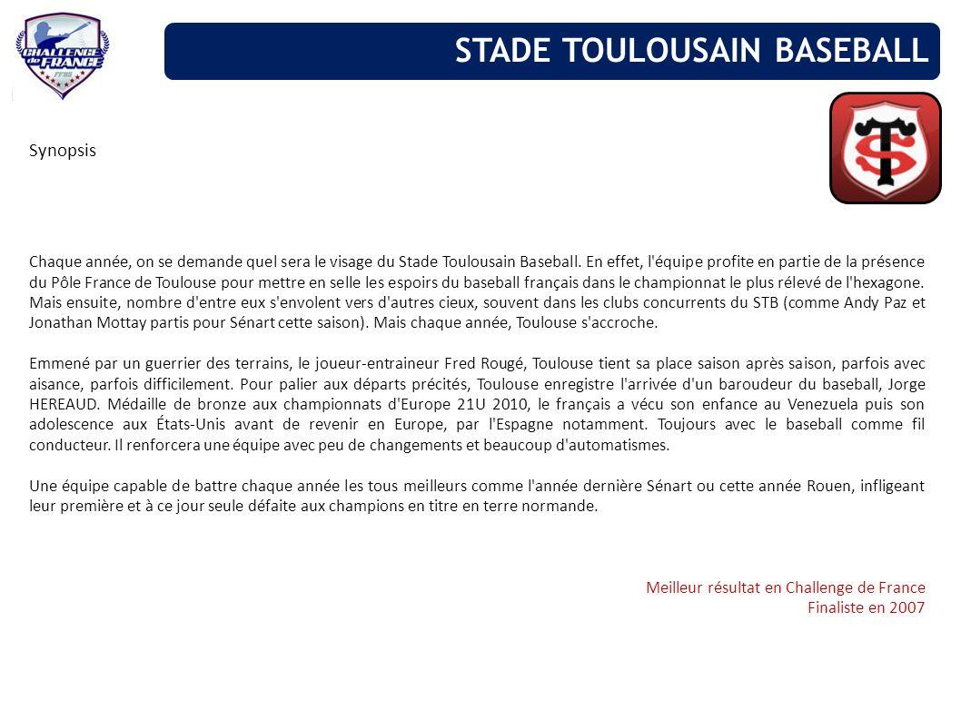Synopsis Chaque année, on se demande quel sera le visage du Stade Toulousain Baseball. En effet, l'équipe profite en partie de la présence du Pôle Fra