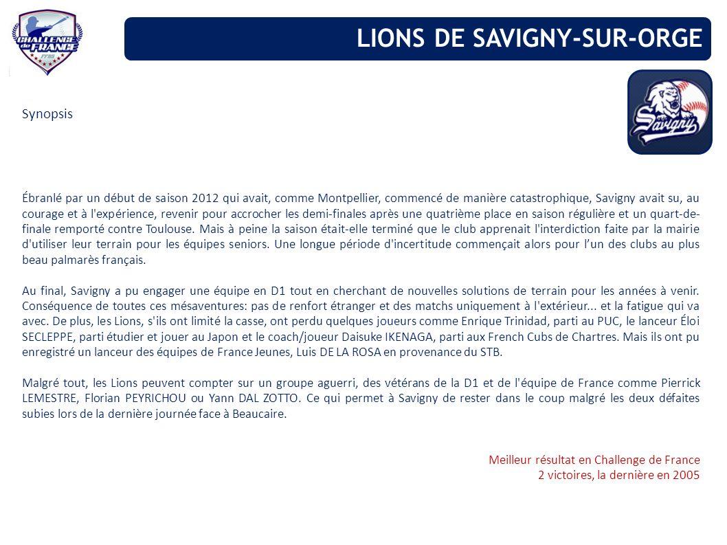 Synopsis Ébranlé par un début de saison 2012 qui avait, comme Montpellier, commencé de manière catastrophique, Savigny avait su, au courage et à l'exp