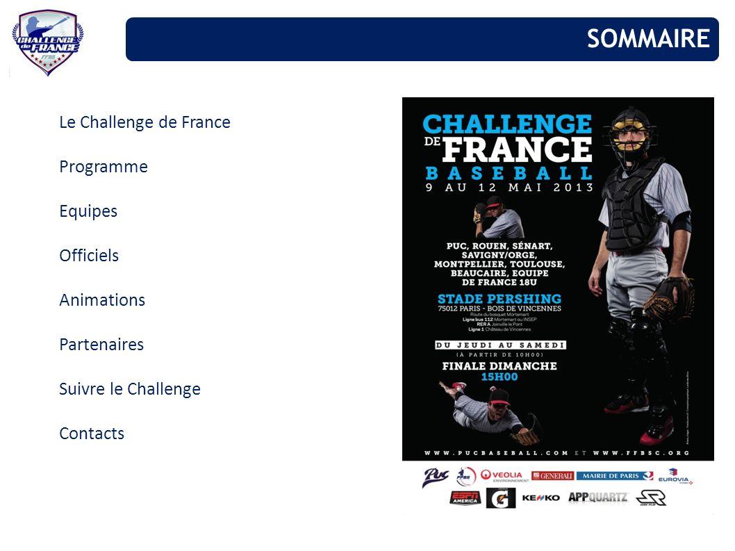 Le Challenge de France Programme Equipes Officiels Animations Partenaires Suivre le Challenge Contacts SOMMAIRE