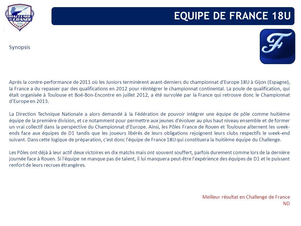Synopsis Après la contre-performance de 2011 où les Juniors terminèrent avant-derniers du championnat d'Europe 18U à Gijon (Espagne), la France a du r