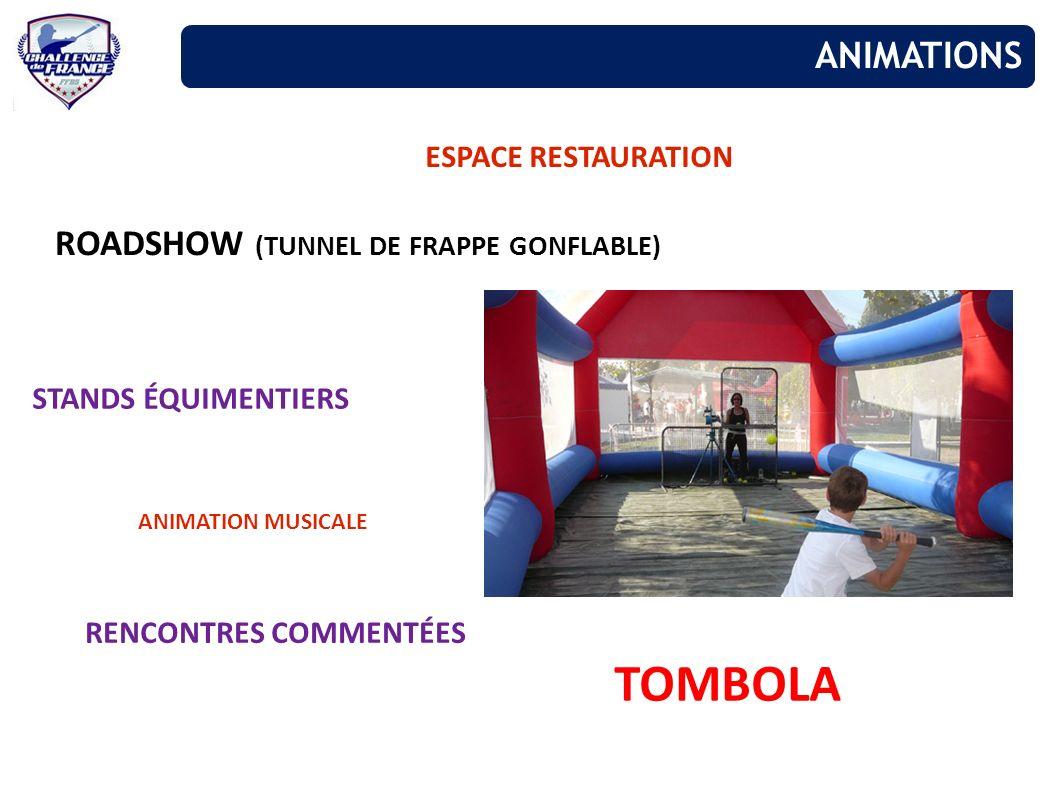 ESPACE RESTAURATION ROADSHOW (TUNNEL DE FRAPPE GONFLABLE) STANDS ÉQUIMENTIERS TOMBOLA ANIMATION MUSICALE RENCONTRES COMMENTÉES ANIMATIONS
