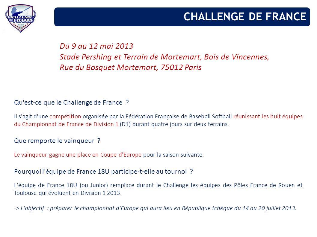Du 9 au 12 mai 2013 Stade Pershing et Terrain de Mortemart, Bois de Vincennes, Rue du Bosquet Mortemart, 75012 Paris Qu'est-ce que le Challenge de Fra