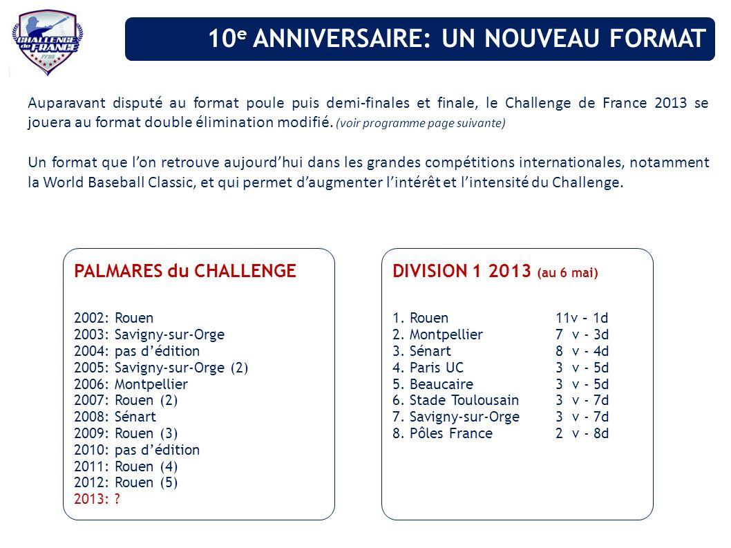 Auparavant disputé au format poule puis demi-finales et finale, le Challenge de France 2013 se jouera au format double élimination modifié. (voir prog